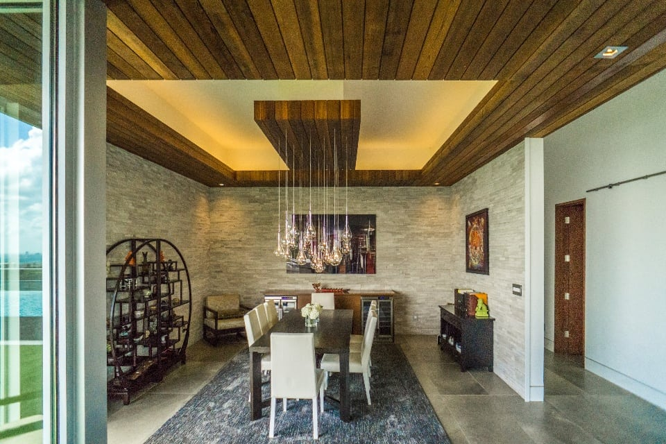 Interior Dining Room with Wood Panel Ceiling